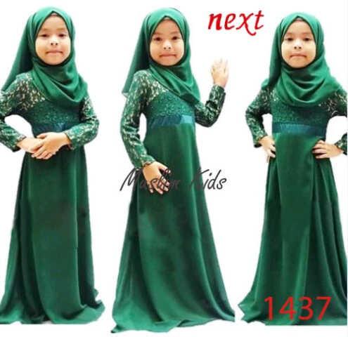 Baju Anak Perempuan Busana Muslimah Baju Gamis Brukat Hijau
