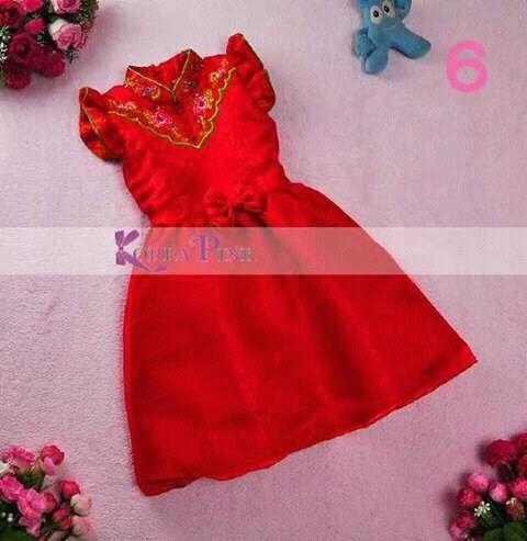 D18042-DRESS KOREA PINK GIRL IMLEK RIBBON #6 (2-7T)